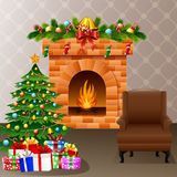 Christmas fireplace with xmas tree, presents and sofa Stock Photography