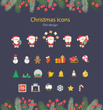 Illustration of Christmas Flat Icons Set. Illustration of Christmas Flat Icons Set with Santa Claus, vector Royalty Free Stock Photography