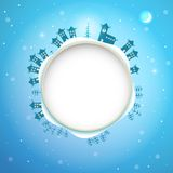 Illustration of Christmas frame. Square Vector Illustration of Blue Christmas frame Stock Photography