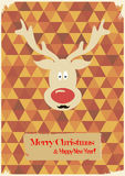 Illustration of Christmas funny deer with a mustac Royalty Free Stock Image