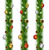 Christmas garlands with balls and pine cones. Illustration of Christmas garlands with balls and pine cones Royalty Free Stock Photos