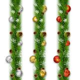 Christmas garlands with balls and pine cones. Illustration of Christmas garlands with balls and pine cones Royalty Free Stock Images