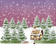 Snowy winter landscape with gingerbread house and sledge in the garden stock illustration
