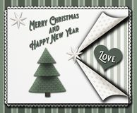 Christmas greeting card in a vintage scrapbooking style with stars and a christmastree and the words Merry christmas and Happy new vector illustration