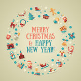 Illustration of Christmas and Happy New Year flat. Illustration of vector  Christmas and Happy New Year flat design postcard with icons Stock Photography