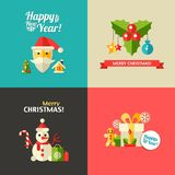 Illustration of Christmas and Happy New Year flat Royalty Free Stock Photo