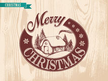 Illustration Christmas House performed by vintage style Stock Photos
