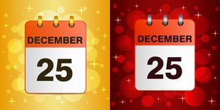 Illustration of Christmas icon on festive background. Sheet Desktop calendar.  25 December. Christmas vector illustration on a festive colorful  background. The Royalty Free Stock Images