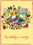 Illustration of Christmas items. The holiday and fun. Cheerful and colorful postcard. Royalty Free Stock Images