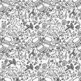 Illustration of Christmas items. The holiday and fun. Seamless pattern. Royalty Free Stock Photos