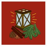 Illustration of a Christmas lantern cinnamon and orange Royalty Free Stock Image
