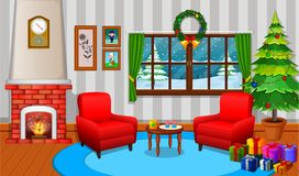 Christmas living room with a tree and fireplace. Illustration of Christmas living room with a tree and fireplace Royalty Free Stock Images