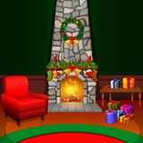 Christmas living room with a tree and fireplace. Illustration of Christmas living room with a tree and fireplace Royalty Free Stock Photos