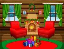 Christmas living room with a tree and fireplace. Illustration of Christmas living room with a tree and fireplace Royalty Free Stock Photography