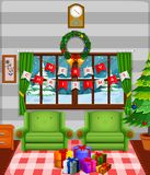 Christmas living room with a tree and fireplace. Illustration of Christmas living room with a tree and fireplace Stock Photo
