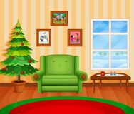Christmas living room with a tree and fireplace. Illustration of Christmas living room with a tree and fireplace Royalty Free Stock Image