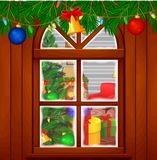 Christmas living room with a tree and fireplace. Illustration of Christmas living room with a tree and fireplace Stock Image
