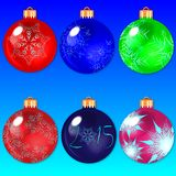Illustration Christmas multicolor balls with bows - vector Stock Photography