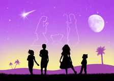 Christmas Nativity scene in the sky. Illustration of Christmas Nativity scene in the sky Royalty Free Stock Photography