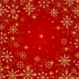 Illustration Christmas and New Years red background  with golden snowflakes.  Royalty Free Stock Images