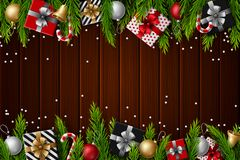 Christmas old wooden background with fir branches and elements. Illustration of Christmas old wooden background with fir branches and elements Royalty Free Stock Image