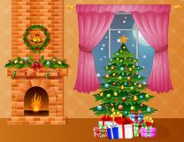 Christmas room interior with fireplace, xmas tree and presents. Illustration of Christmas room interior with fireplace, xmas tree and presents Stock Photos
