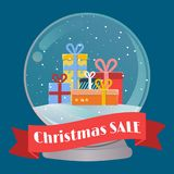 Illustration for Christmas sale banner with snow globe and gift boxes Royalty Free Stock Images