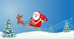 Christmas Santa with christmas sled Royalty Free Stock Photography