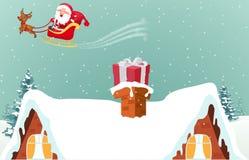 Christmas Santa Claus With Reindeer Stock Photos