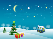 Illustration of christmas snow. Y night scene with trees, house and gift boxes Royalty Free Stock Photo