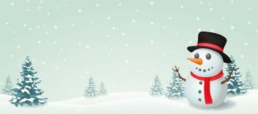 Christmas Snowman banner design Royalty Free Stock Image