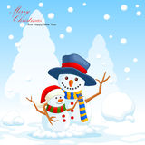 Illustration of christmas snowman cartoon Stock Images
