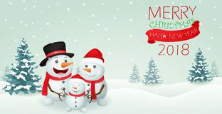 Christmas Snowman family banner design Royalty Free Stock Photo