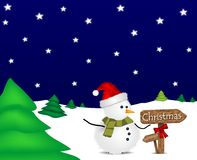 Illustration with Christmas snowman and signage. Illustration with Christmas snowman and wooden signage indicating the direction of Christmas Royalty Free Stock Image