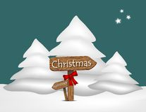 Illustration with Christmas snowman and signage. Illustration with Christmas snowman and wooden signage indicating the direction of Christmas Stock Photos