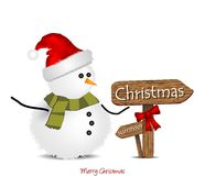 Illustration with Christmas snowman and signage. Illustration with a snowman with wooden signs with the word Christmas Stock Photos