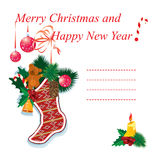 Illustration of christmas sock with gifts Stock Photo