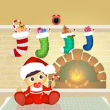 Christmas socks on the fireplace. Illustration of Christmas socks on the fireplace Stock Image