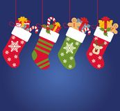 Illustration: Christmas socks with gifts.  Royalty Free Stock Images