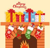 Illustration of Christmas socks with gifts on the background of the fireplace. Christmas background with gifts.  Royalty Free Stock Photos