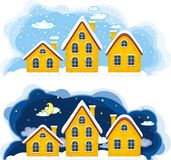 Illustration of Christmas suburbs. Vector illustration of Christmas suburbs stock illustration