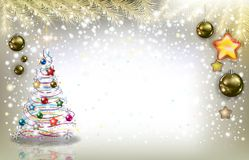 Golden Christmas background. Illustration Christmas themed background of a colorfully decorated tree, golden ornaments hanging from gold tree branches across the Stock Photography