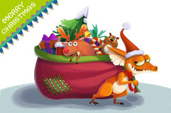 Illustration: The Christmas Thief Steal Your and other Children's Gift and Put all of them in a Big Gift Bag. Are you still Happy?. Realistic Fantastic Cartoon Royalty Free Stock Photo