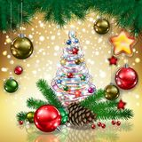 Christmas tree and baubles Royalty Free Stock Photos