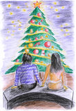 Illustration-Christmas tree before the couple Stock Photos
