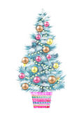 Illustration of the Christmas tree in a flowerpot isolated on white background. Stock Images