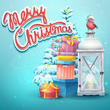 Illustration with Christmas tree, gifts, flashlight, bullfinch Royalty Free Stock Image