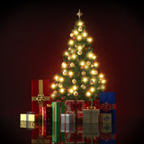 Illustration Of Christmas Tree with gifts Stock Photos