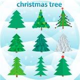 Set of green christmas trees Royalty Free Stock Photo