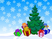 The illustration of a christmas tree and present boxes with snow Stock Photos